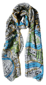 The Olive House® Womens London Map Scarf White