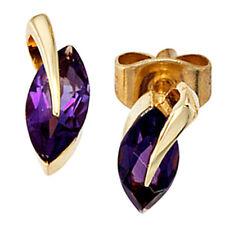 Ohrstecker 585 Gold Gelbgold 2 Amethyste lila violett Ohrringe H 10,0 mm NEU