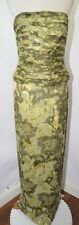 Jovani Green Sequin Ruched Leaves Strapless Prom Dress Scarf Womens 8 10