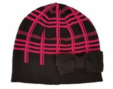 KATE SPADE New York SCUBA Plaid BEANIE Hat with BOW Black / Pink SWIRL One Size