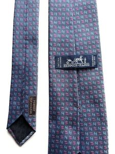 Hermes Paris Tie 758956 T Silk 100%  Authentic 100% Made In France.