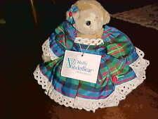 MUFFY VANDERBEAR DRESSED COMPLETE COSTUME TAFFETA HOLIDAY BLUE PLAID 1986 W TAG