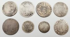 Lot of (8) 1712-1736 Spain 1 & 2 Reales Spanish Colonial Era Pirate Silver Coins