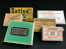 Vtg Drug Store Pharmacy Original Boxes Satina Epsom Salts Cold Tablets Foley's