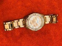 Versales Gold Watch Rhinestones (needs Batteries) And A Few Rhinestones Missing