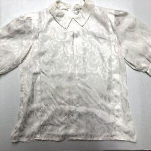 Vintage Lloyd Williams Floral Print Top Shirt Blouse Cream White Womens Size 8