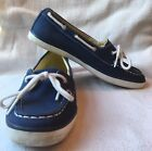 """NAUTICA CANVAS BOAT SHOES """"PINECREST"""" STYLE WOMENS SIZE7 -NAVY BLUE WHITE LACES"""