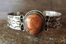 Navajo Indian Nickel Silver Apple Coral Bracelet by Jackie Cleveland!
