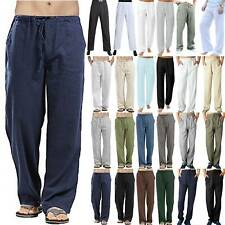 Men Summer Casual Cotton Linen Baggy Harem Pants Beach Yoga Loose Trousers S-5XL