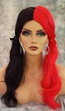 HARLEY QUINN COSTUME HALLOWEEN WIG  PARTIES FANTASY *CLR RED BLACK US SELL  1049