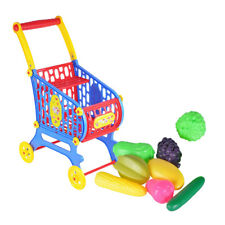 Plastic Supermarket Cart with Food Baby Supplies for Kids Toddler Doll Accs
