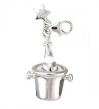TINGLE Sterling Silver & Enamel CHAMPAGNE BUCKET Charm - Gift Bag & Box SCH61
