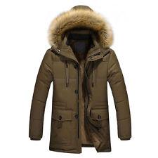 Men's Warm Down Cotton Jacket Fur Collar Thick Winter Hooded Coat Outwear Parka