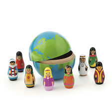9pc. Multicultural Wooden Nesting Children of the World GLOBE Toy Dolls