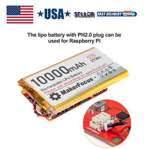 10000mAh 3.7V Lipo Rechargeable Battery with PH2.0 Plug for Raspberry Pi