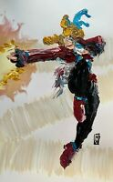 ORIGINAL Abstract Street Fighter Capcom Karin Palette Knife Painting Art 11x17