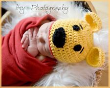 Newborn Pooh Bear Inspired Photography Photo Prop Crochet Knit Hat Costume