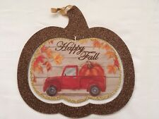 Red Pickup Truck Pumpkin Harvest Fall Autumn Decoration Wall Hanging
