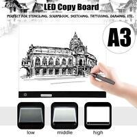 A3 LED Table À Dessin Planche Tablette Pochoir Copie Lumineuse Dimmable 3 Niveau