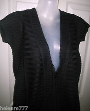 New Cordelia St Size S 10 12 Black Knit Top Zip Front Panel Rib Detail