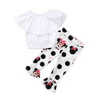 NWT Minnie Mouse Girls White Shirt Polka Dot Ruffle Leggings Outfit 2T 3T 4T 5T