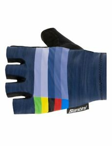 UCI Rainbow Cycling Gloves - Navy Blue - Made in Italy by Santini