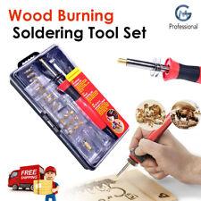 Wood Burning Pen Soldering Set Pyrography Kit Brass Tools Tips & Box 24PC 30W