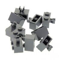 10x Lego Stein Halterung neu-dunkel grau 1x2 Clip vertikal 79018 30237