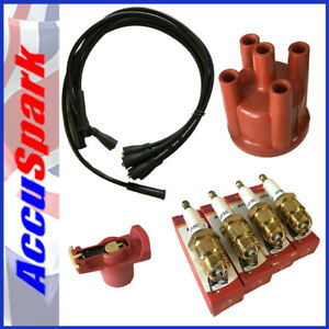 Ford Pinto Accuspark Spark Plugs (Cold) Cap+Red Rotor + BLACK  leads For Bosch (