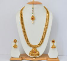 Indian Bollywood Style Gold Toned Ethnic Bridal Necklace Earrings Jewelry Set