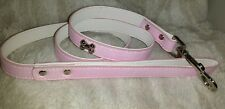 Pink Faux Leather Dog Lead Leash Medium Bone Stud details. Snake skin finish.