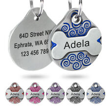 Personalized Dog Tags Pet ID Name Engraved Bone/Round Collar Pendant & Ring Blue