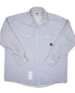 Bulwark Classic FR Flame Resistant Work Shirt Mens 2XL Hickory Stripe Workwear