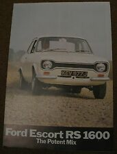 FORD ESCORT Mk 1 RS1600 MEXICO RS2000  BROCHURE RS 1800