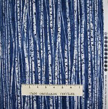 Christmas Fabric - Birch Branch Stripe Blue with Glitter Timeless Treasures YARD