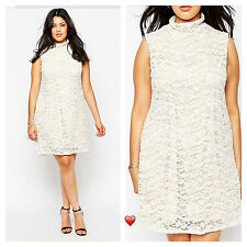 Praslin @ Simply Be Plus Size  26 Coffee Cream Lace High Neck DRESS Party £45
