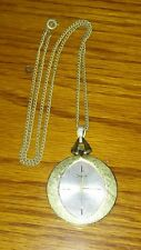 """Pendant Chain Brushed Ladies 23"""" Long Vtg Sheffield Gold Tone Watch Necklace"""