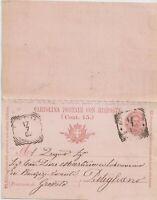 1904 intero postale con risposta ancora unita da Montiano Grosseto x Pitigliano