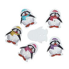 20 Colores Mezclados Madera Novedad pingüinos de Costura botones de artesanía 29mm Gratis Reino Unido P&p