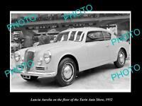 OLD LARGE HISTORIC PHOTO OF 1952 LANCIA AURELIA TURIN MOTOR SHOW DISPLAY 2