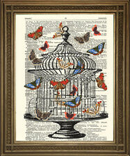 VINTAGE DICTIONARY BOOK PAGE PRINT: Antique Bird Cage With Butterflies Art