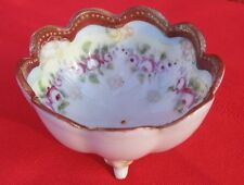 """Antique Porcelain Egg Cup Hand Painted 24K Gold Trim Floral Footed 1 3/4 x 3"""" ✞"""