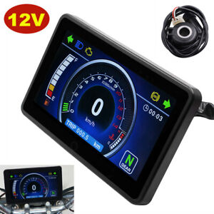 Motorcycle Speedometer Odometer Tachometer Speed Fuel Meter Gauge LCD Display