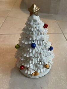 Vintage Avon Fiber Optic Porcelain Ceramic Tree With Music !2 Ornaments Missing!