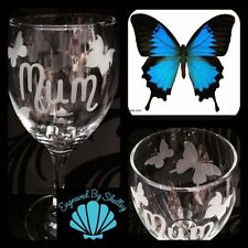 Beautiful Butterfly Design Wine Glass! Perfect Gift Handmade Personalised Name!