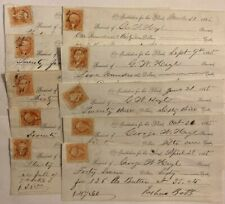 New listing 1865 - 66 Columbus Ohio Institute of Blind Civil War Receipt Wholesale Lot (10)
