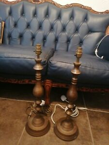 """Tall Brass Vintage Ethnic Vase Table  Lamps Pair Height 23"""""""