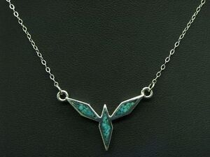 925 Sterling Silver Chain & Pendant with Turquoise & Kunstmasse Trim / 38,0cm