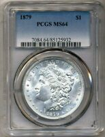 1879 Morgan PCGS MS-64 Mostly White Uncirculated Silver Dollar Philadelphia Mint