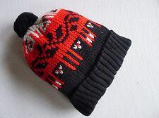 vintage retro true 50s unused knit beanie hat baby toddler NOS red black